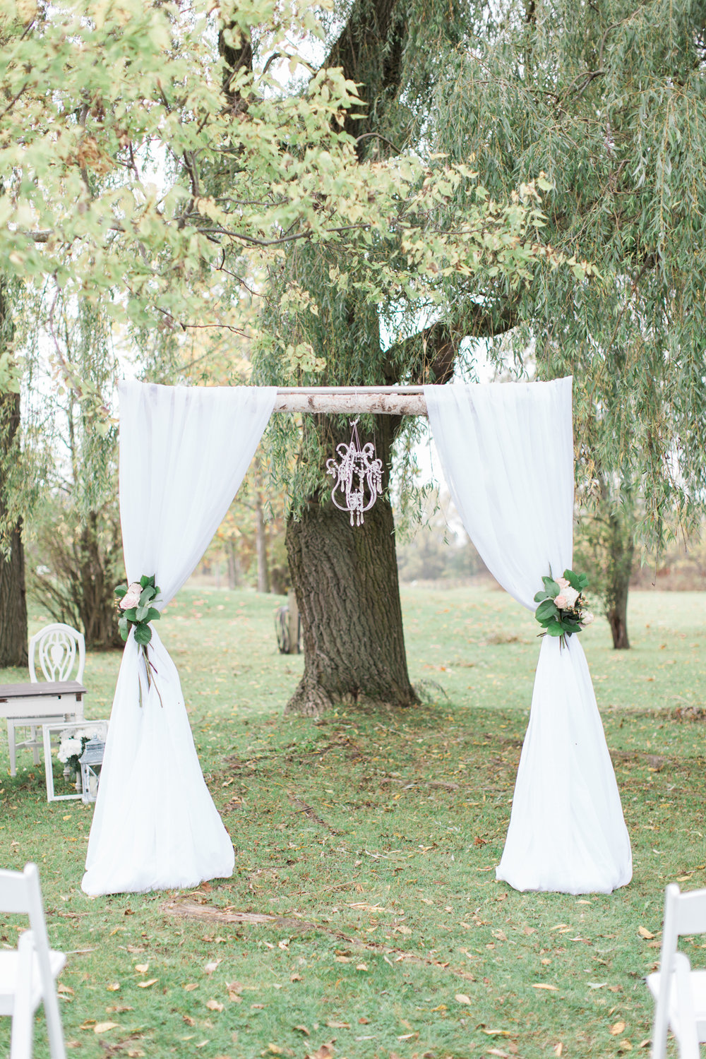 outdoor wedding ceremony in the fall