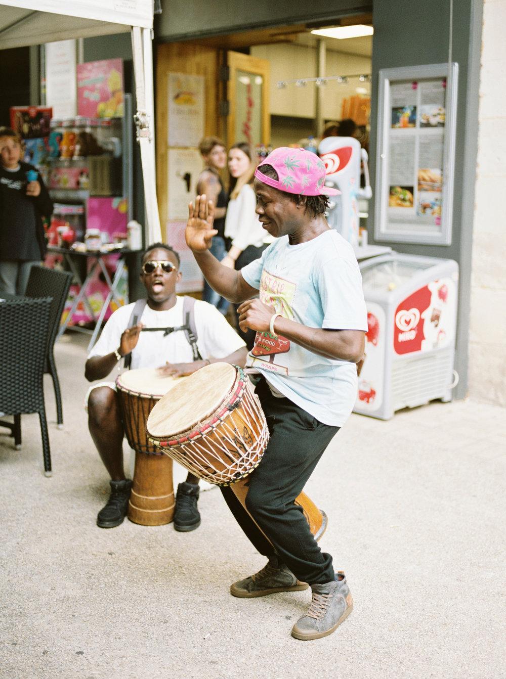 Street performers in Paris, France.