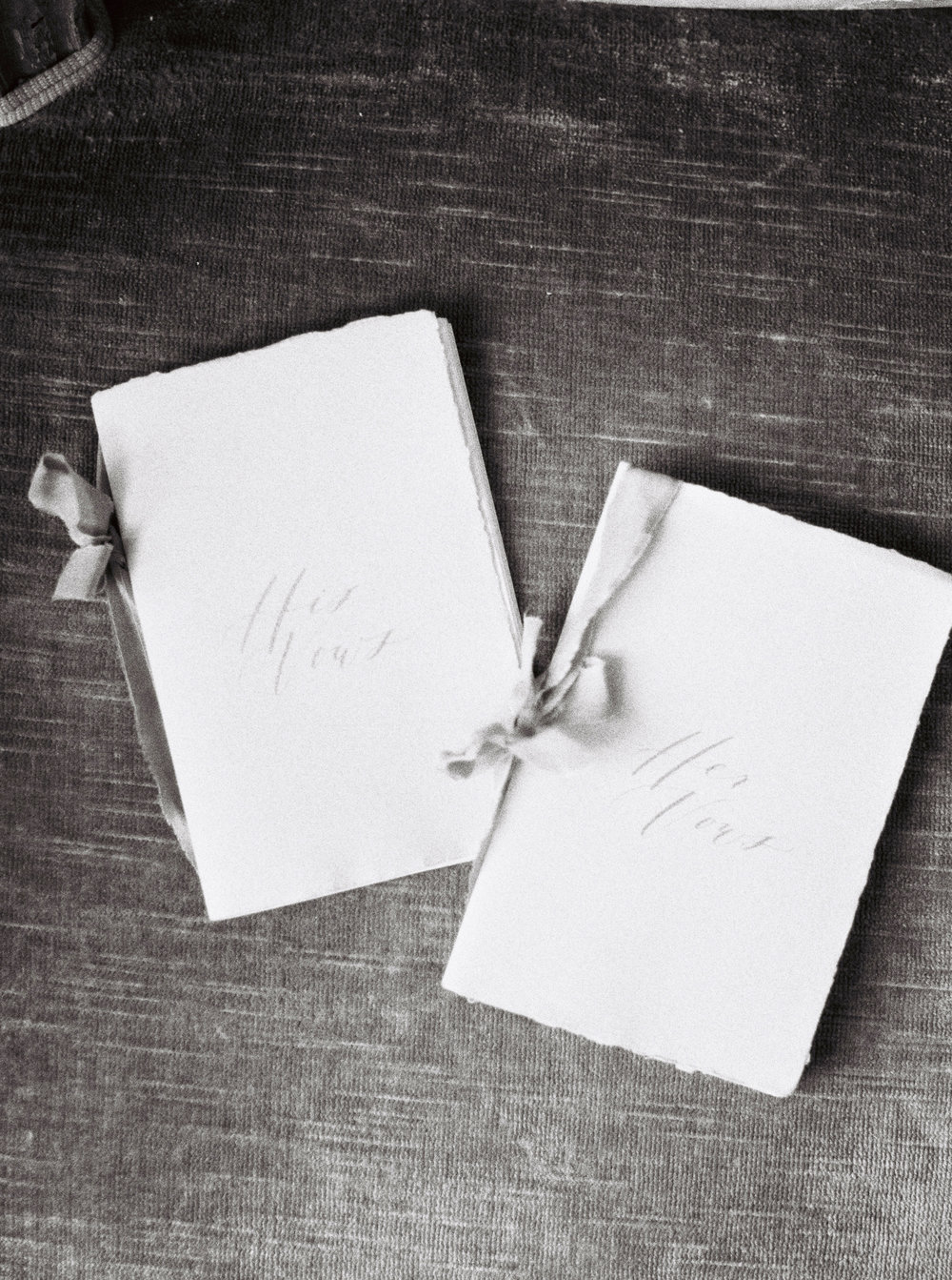 Vow books for the bride and groom.