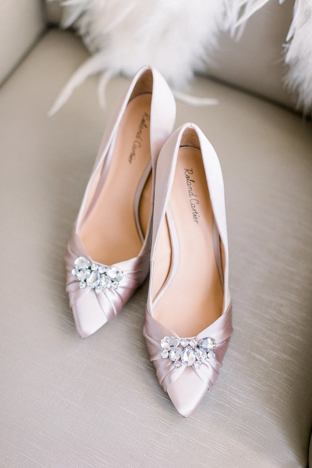 Light pink wedding shoes.
