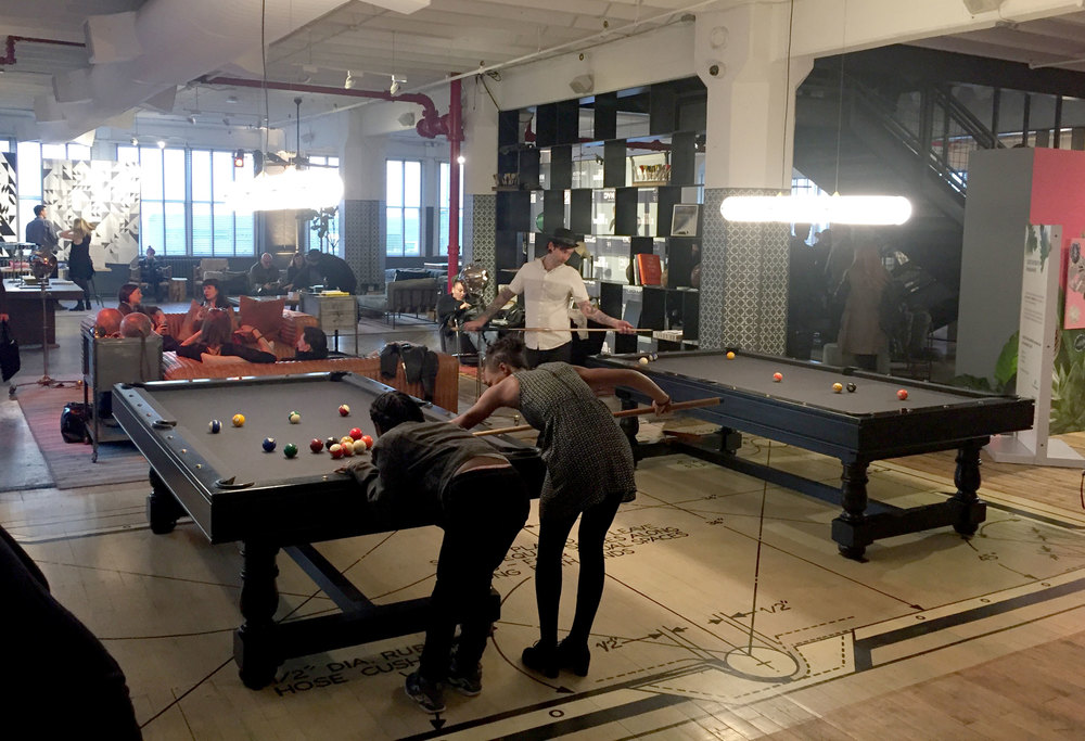 Wanted Design Opening Party At Industry City Being SENTIENT - Pool table wanted