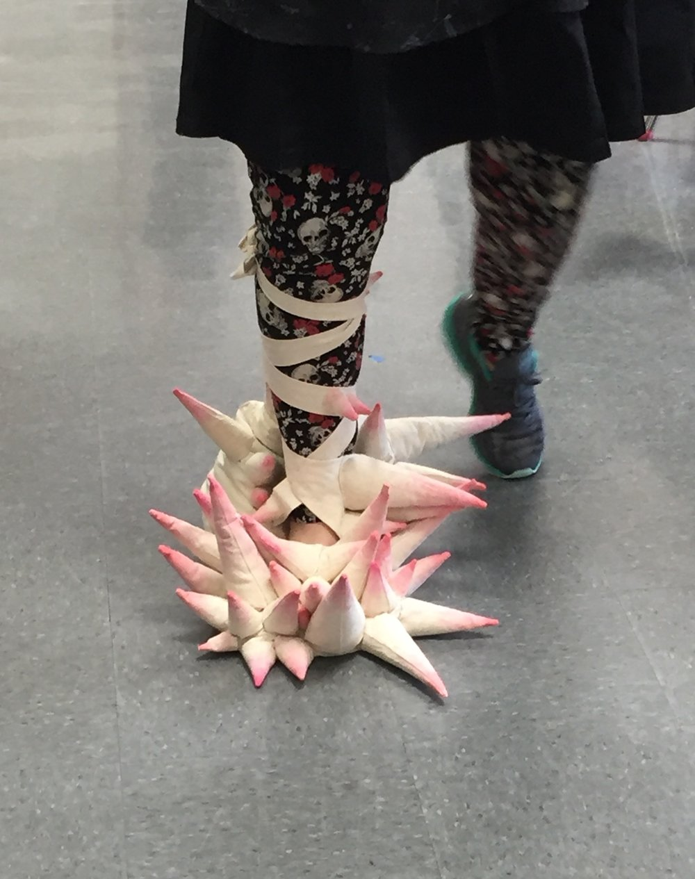 Fiber / Mixed Media Sculptural Forms  Compulsive body project  Students recorded their actions and made a form that either emphasized or restricted that action. This form emphasized the pain the student has when walking on her injured foot.