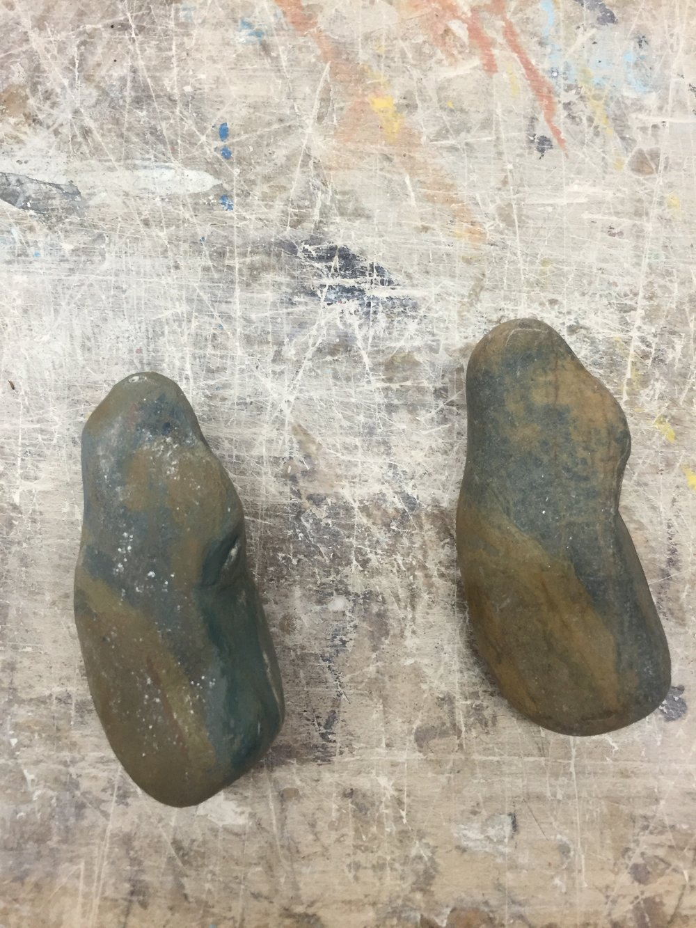 3D Foundations class  Realism  The left rock is carved from plater and painted to replicate the original rock on the right.