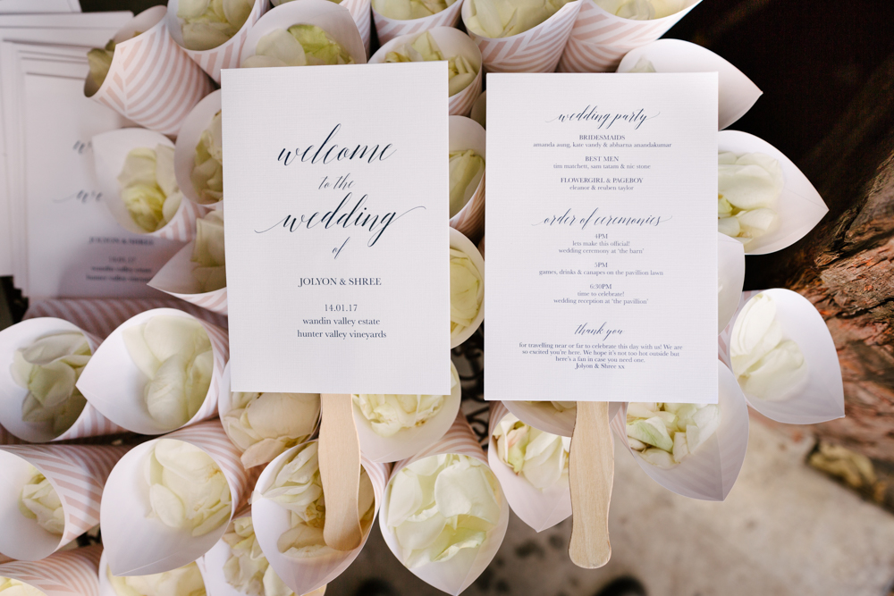 Ceremony Program + Rose Petal Confetti - Wedding Flowers + Invitations Hunter Valley