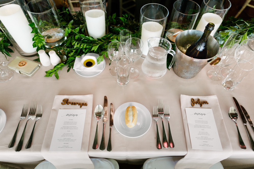 Greenery Centrepiece + Printed Menus - Wedding Flowers + Invitations Hunter Valley