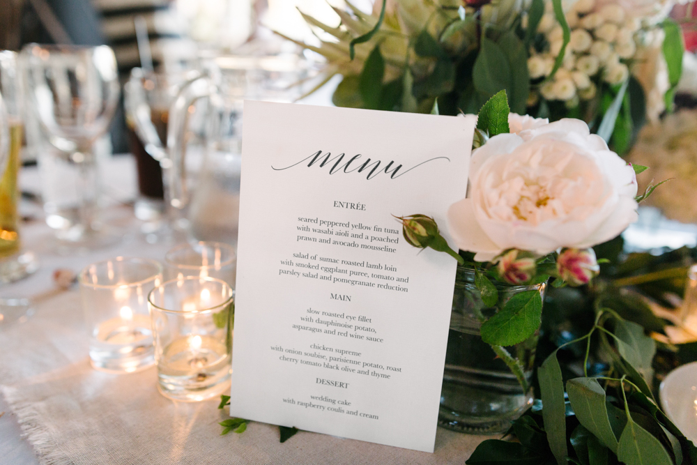 Printed Menus - Wedding Invitations Hunter Valley