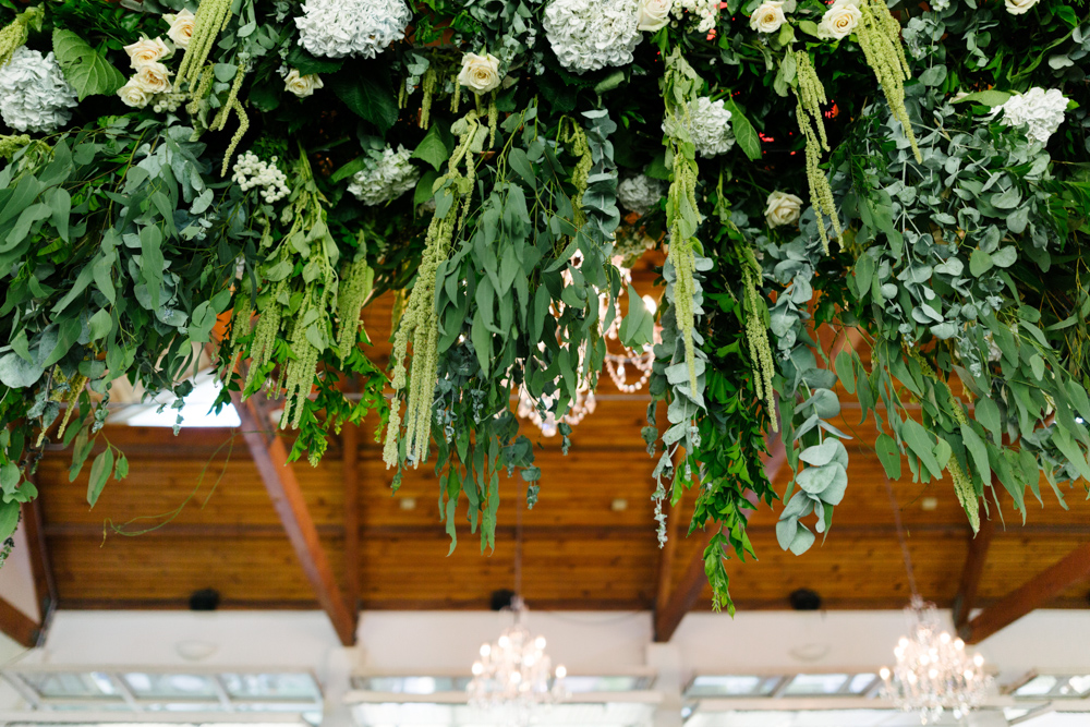 Hanging Greenery + Flower Installation - Wedding Flowers + Styling Hunter Valley