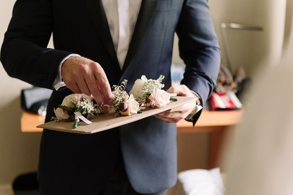 Grooms Peony Buttonhole - Wedding Flowers Hunter Valley