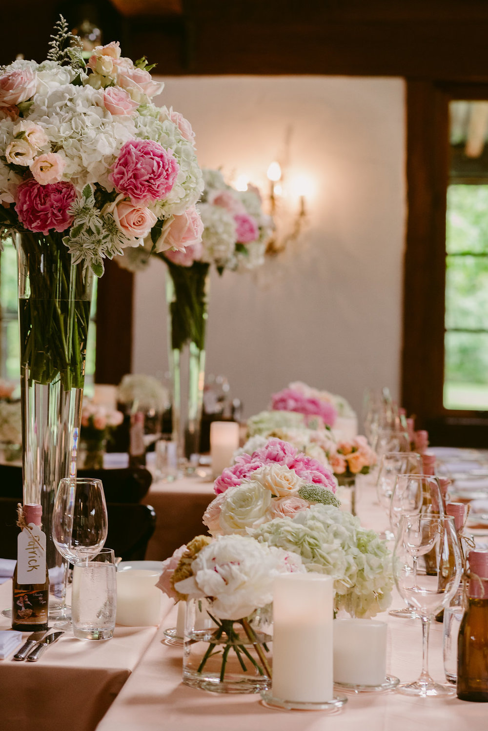 Peonies Hydrangeas Flower Centrepiece - Wedding Flowers Hunter Valley