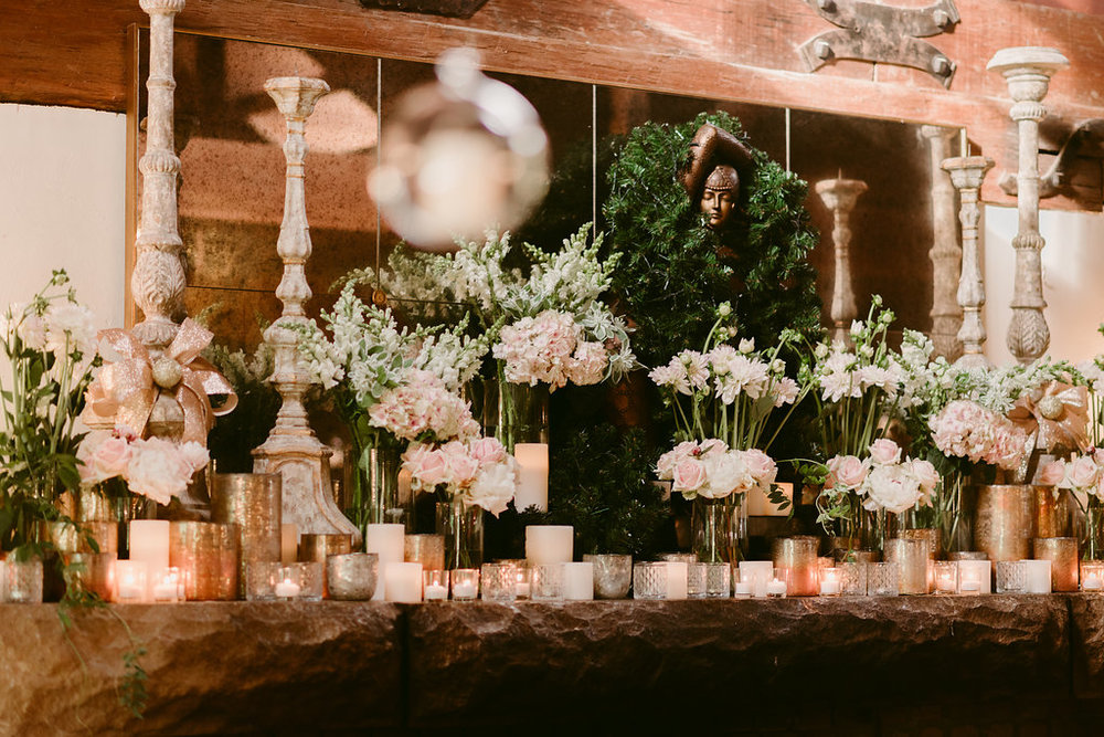 Flowers + Candles Mantle - Wedding Flowers + Styling Hunter Valley