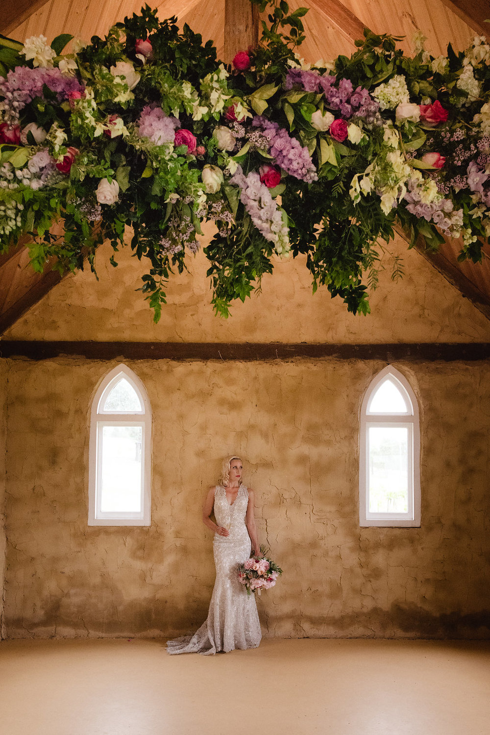 Hanging Flowers Installation - Wedding Flowers Hunter Valley
