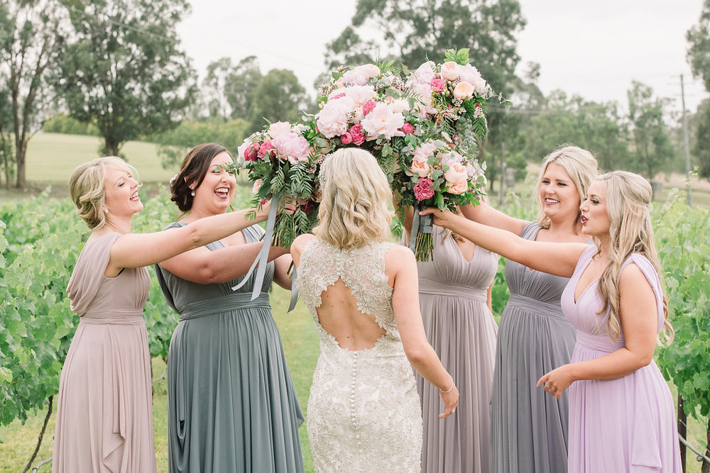 Bride & Bridesmaids Bouquets - Wedding Flowers Hunter Valley