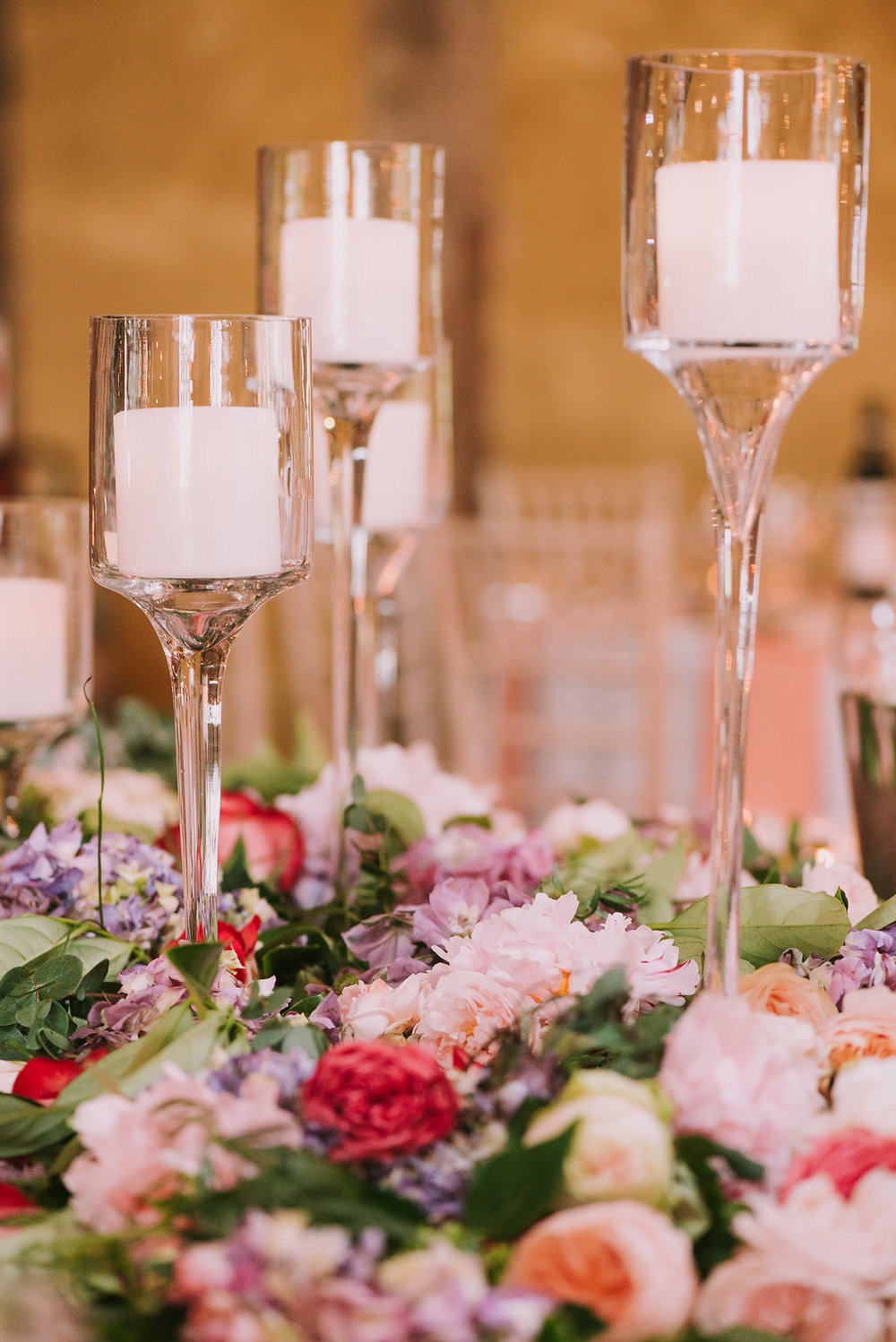 Flower & Candles Centrepieces - Wedding Flowers & Styling Hunter Valley