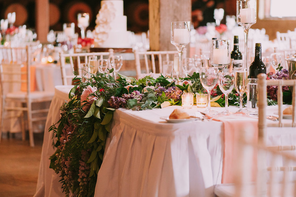 Bridal Table Flower Installation - Wedding Flowers Hunter Valley