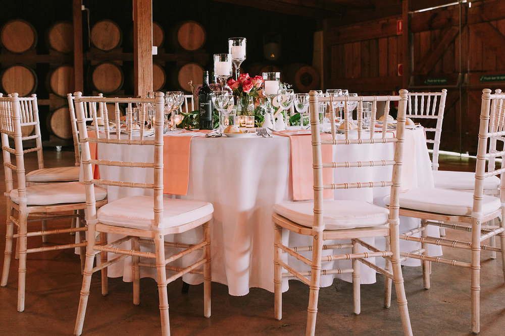 Flower Centrepiece & Tabletop Hire Napkins - Wedding Flowers & Styling Hunter Valley