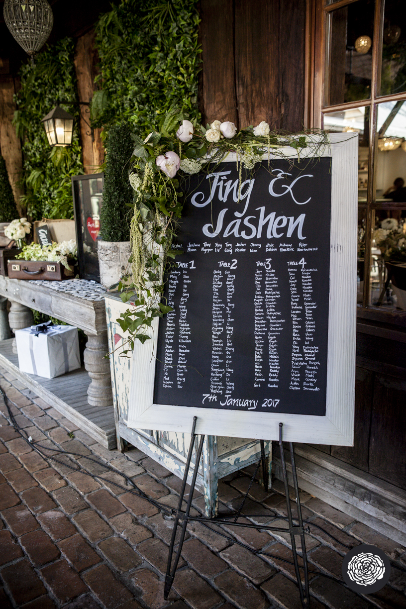 Handwritten Blackboard Seating Chart - Wedding Styling Hunter Valley