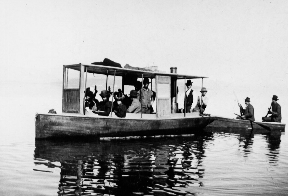 The Nay family launch that capsized in 1898 on Mono Lake, drowning 6 men