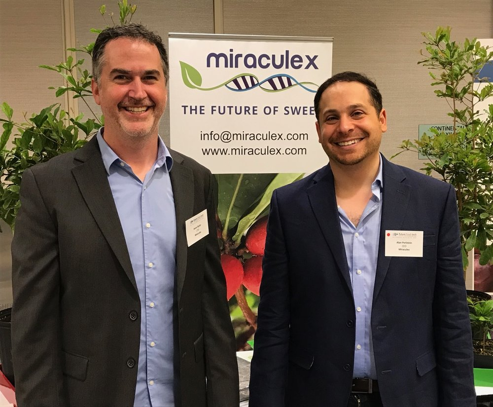 Jason Ryder (Left) and Alan Perlstein (Right) showing off Miraculex at Future Food Tech SF 2018.