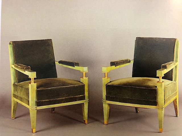 1954. [chartreuse lacquered arm chairs supported by golden bronze feet]