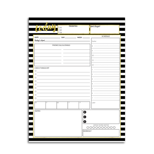 Daily Planner Printable Black And White Stripes Confetti Saturday