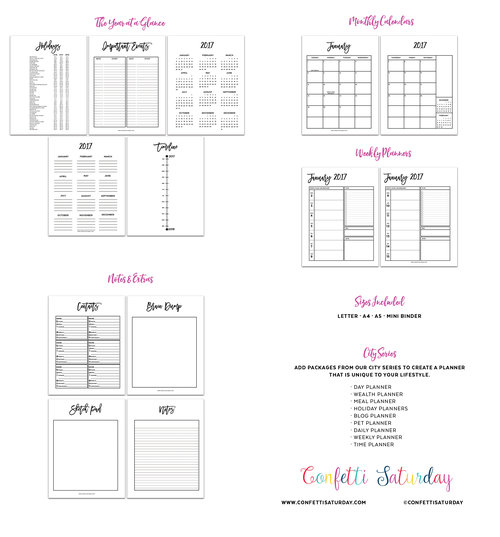 2017 Day Planner Printable // City Series — Confetti Saturday
