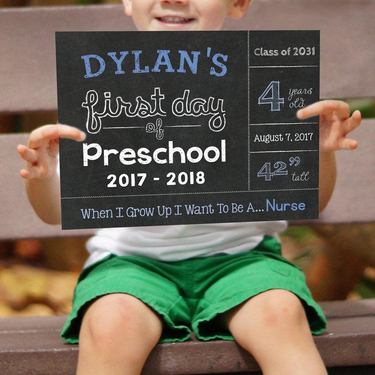 first day of preschool chalkboard