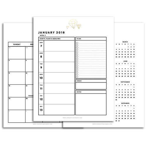Day Planner Printable  Sunday Start  Signature Series