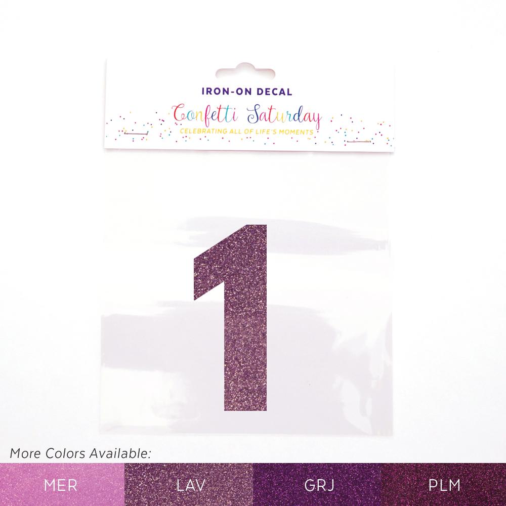 1 iron on decal glitter purple confetti saturday 1 iron on decal glitter purple publicscrutiny Image collections