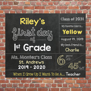 first day of school chalkboard sign for first grade