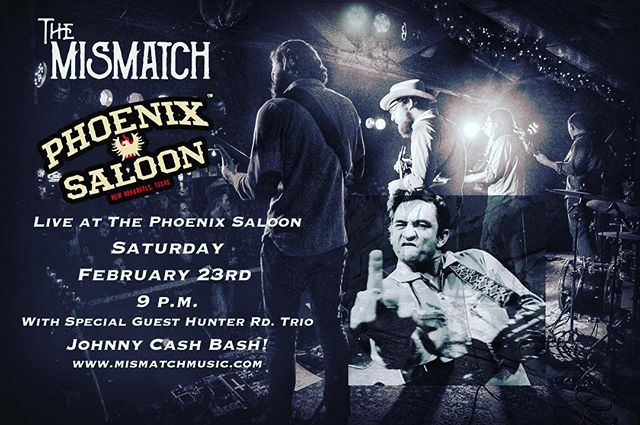 This Saturday 2/23 at @phoenixsaloon from 9 p.m we're playing songs for the Cash Bash! Come join us in the heart of historic downtown New Braunfels. Strap on yer dancin' boots cause it's gonna get rowdy.  _____________________ #folk #johnnycash #country #countrymusic #themismatch #mismatchmusic #americana #funkabilly #thephoenixsaloon #nbtx #newbraunfels #guitar #banjo #fiddle #mandolin #drums #rocknroll