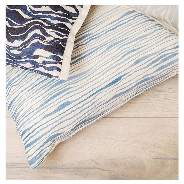 Fishing Stripe // We call this cushion the everywhere cushion - mainly because it looks amazing everywhere - on a bed with white linen, on a beige, navy or grey lounge, on a pink feature chair...everywhere. It's a classic two tone blue/grey warbly stripe on weighty linen-cotton. ...we have 1 cushion left in this timeless pattern then it's gone forever . . . . . . Image by the gorgeous  globetrotting @_janeallen_ . . . . . #wishiwastherejaney #sendingyoulovepossum #sundayfolktextiles #textilelove #eclecticstyle #stylishhomes #classicstyle #classichomes #hamptonsstyle #australiandesign #australiandesigner #australianmade #shopsmallaustralia #shopsmall #greycushions #throwcushions #thatsdarling #ladystartup #coasthomes #blueinteriors #bluepatterns #beachhouses #australianhomes #cushions #designerhomewares #designlovers #handpainted