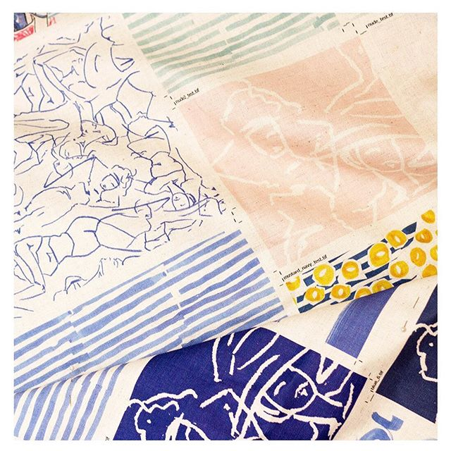Unwrapping samples from the printer is like opening a box of chocolates.....beautiful new designs and colours soon to be  table-runners and napkins. Pre-orders open late next week . . . . #sundayfolkweekender #tablerunners #dressyourtable #christmastable #textiledesign