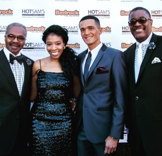 Pictured (left to right) Owner Cliff G. Green, OnSite Stylist and manager Lauren Stovall, Hollywood Actor Vinicius Machado, Owner Tony Stovall