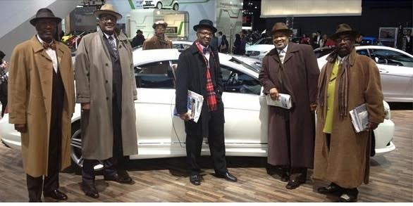 Tony Stovall (2nd from left) & Cliff G. Green (3rd from left) Owners of Hot Sams at The Auto Show Charity Preview with friends.