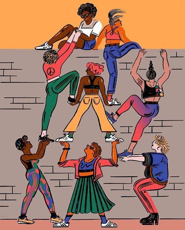 On #internationalwomensday, we honor the women and non-binary folx (especially trans women of color) who have paved the way for us and lifted us up, and we pledge to do the same for those who come after us. We are in this together ⚡️ (artwork by @cynthiakittler)