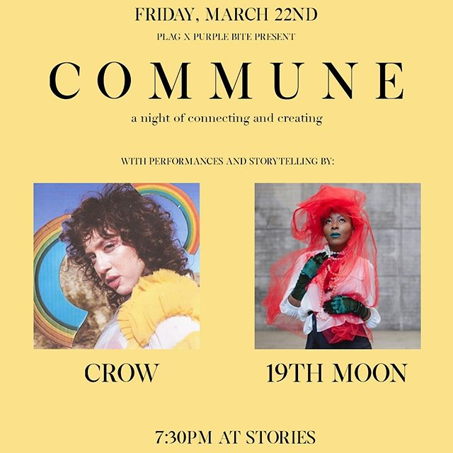Commune is back on the 22nd at @storiesbooksandcafe with @urfriendcrow & @19th_moon. Come early at 7:30 for wine and tea and hangs. Music starts at 8!