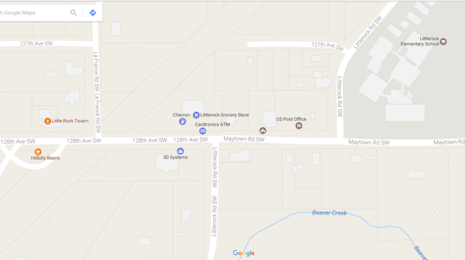 Thanks again, Google. Notice: Little Rock Tavern, Chevron station, Elementary School, creek.