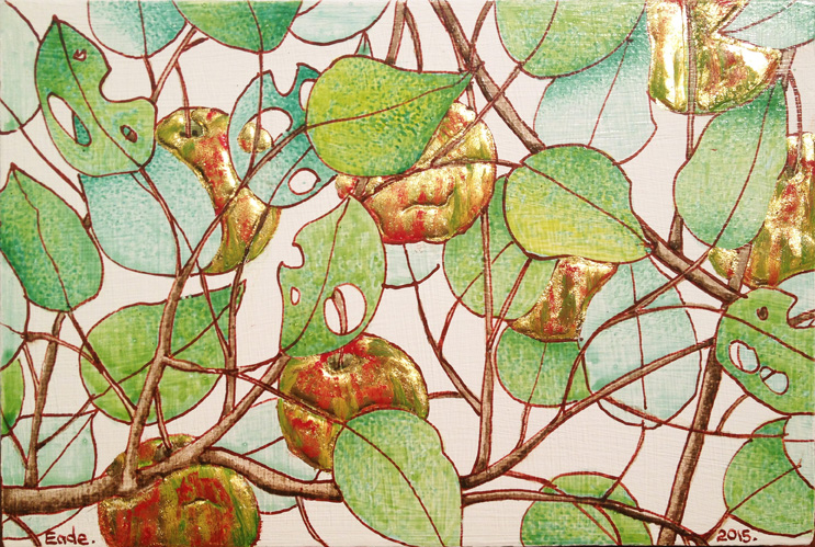 Wild Apple Tree (Study), no. 23 野苹果树(小稿), 2015 Egg tempera, raised 22k gold leaf and oil on wood panel 布面蛋彩画及 23k 金叶 6 1/2 x 4 3/8 inches