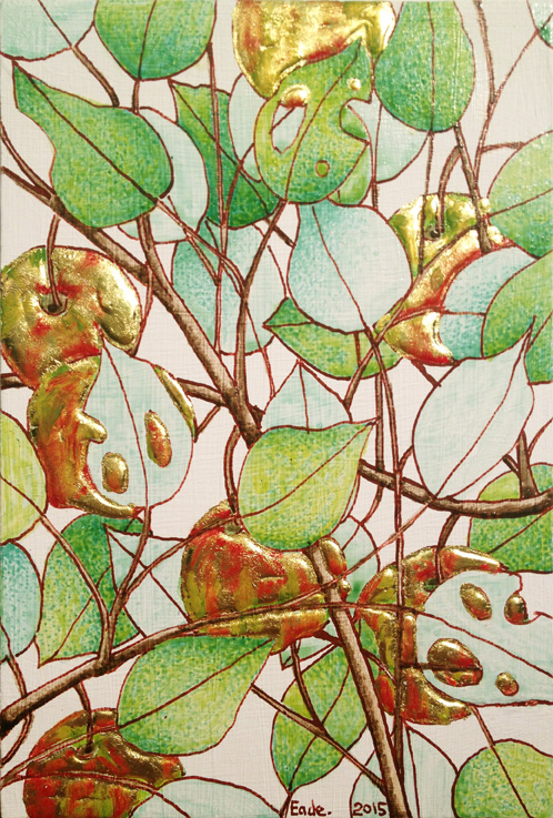 Wild Apple Tree (Study), no. 22, 野苹果树(小稿), 2015 Egg tempera, raised 22k gold leaf and oil on wood panel 布面蛋彩画及 23k 金叶 4 3/8 x 6 1/2 inches