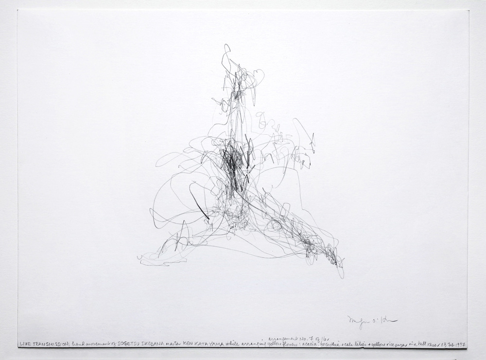 LIVE TRANSMISSION: hand movement of SOGETSU IKEBANA master KEN KATAYAMA while arranging yellow flowers: acacia, forsythia + ca/a lilies + yellow rice paper in a tall vase I 13 Feb, 1997, Graphite on Bristol paper, 9 x 12 in. (22.9 x 30.5 cm)