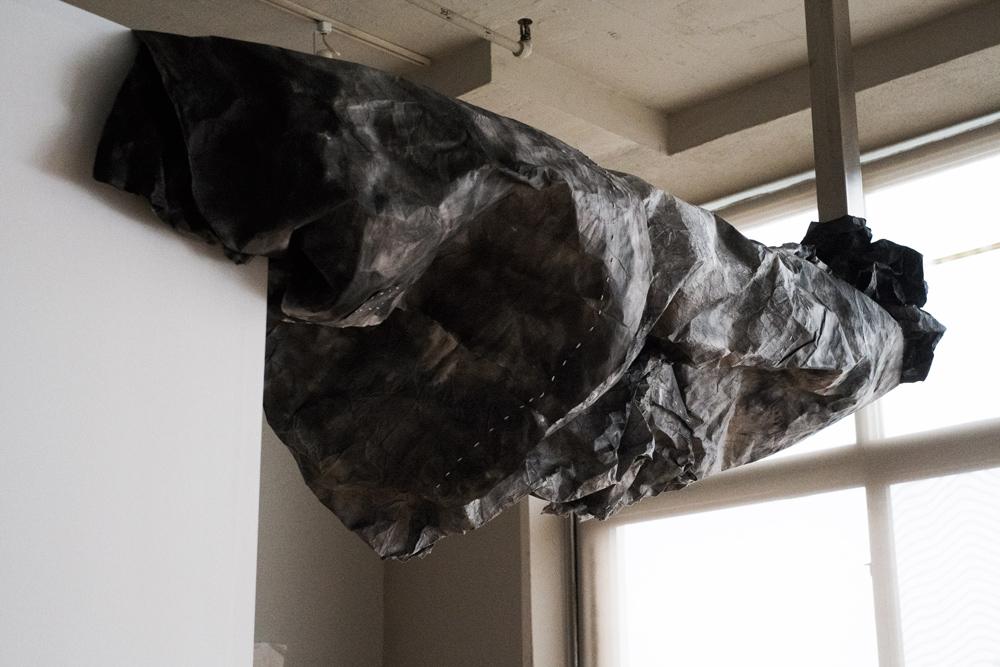 Lin Yan , Cloud 云 , 88 x 24 x 30 in. (223.5 x 69.9 x 76.2 cm), Ink, Xuan paper and light installation, 2014. ©2017 Lin Yan, Courtesy White Rabbit Gallery, Sydney