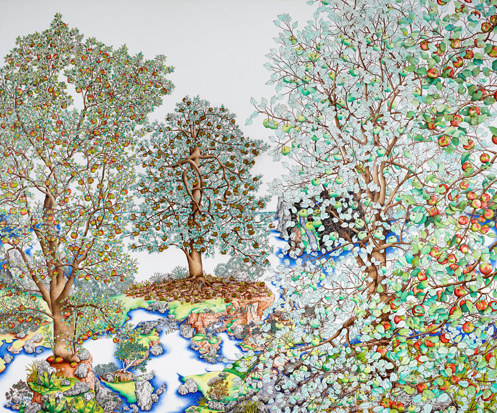 Michael Eade. The Wild Apple Forest 野苹果森林, 60 x 72 in., Egg tempera, raised 23k gold leaf and oil on canvas, 2012