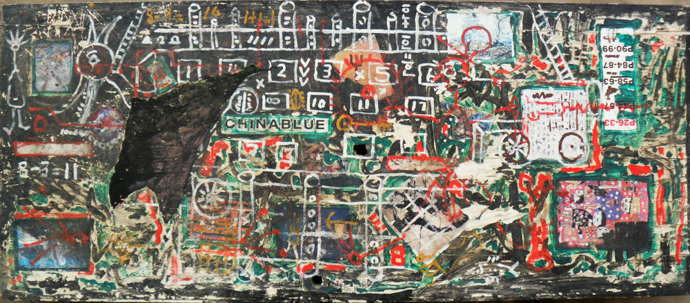 Li Zhongdong,  Mobile Factory , 2008. Mixed media on wood board, 200 x 90cm. Image courtesy Almost Art Project.   李忠东,手机工厂,2008. 200 x 90cm,木板综合材料. 致谢:绘素计划.