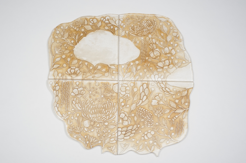 Evanescing Scenery No.1,2013 Kiln-formed glass, tea,31.5 x 31.5 x 0.5 in. (80 x 80 x 1.3 cm)