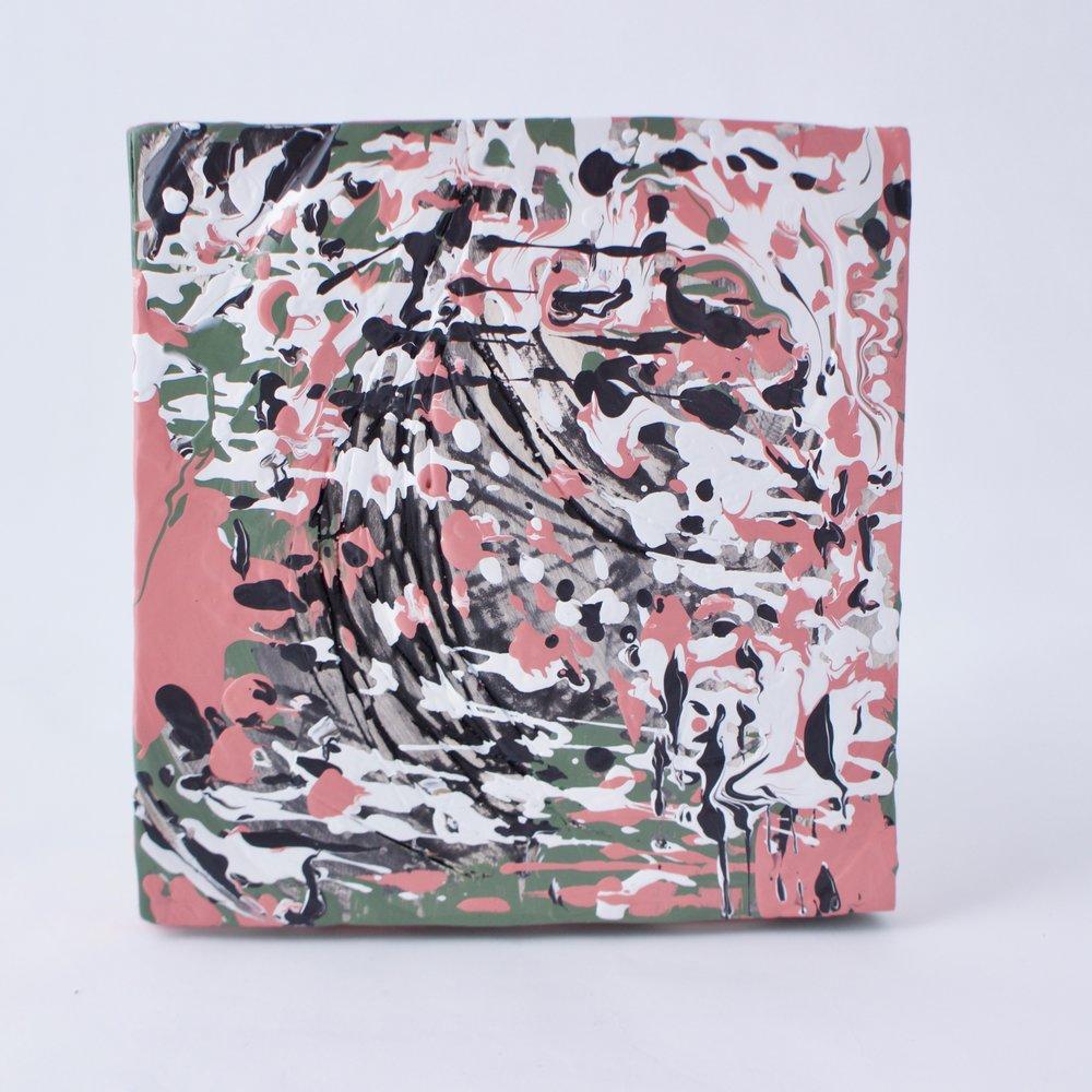 Complementary 3  ,   Stoneware, underglaze, mix medium,6.25 x 6.5 x 1.5   inches, 2016