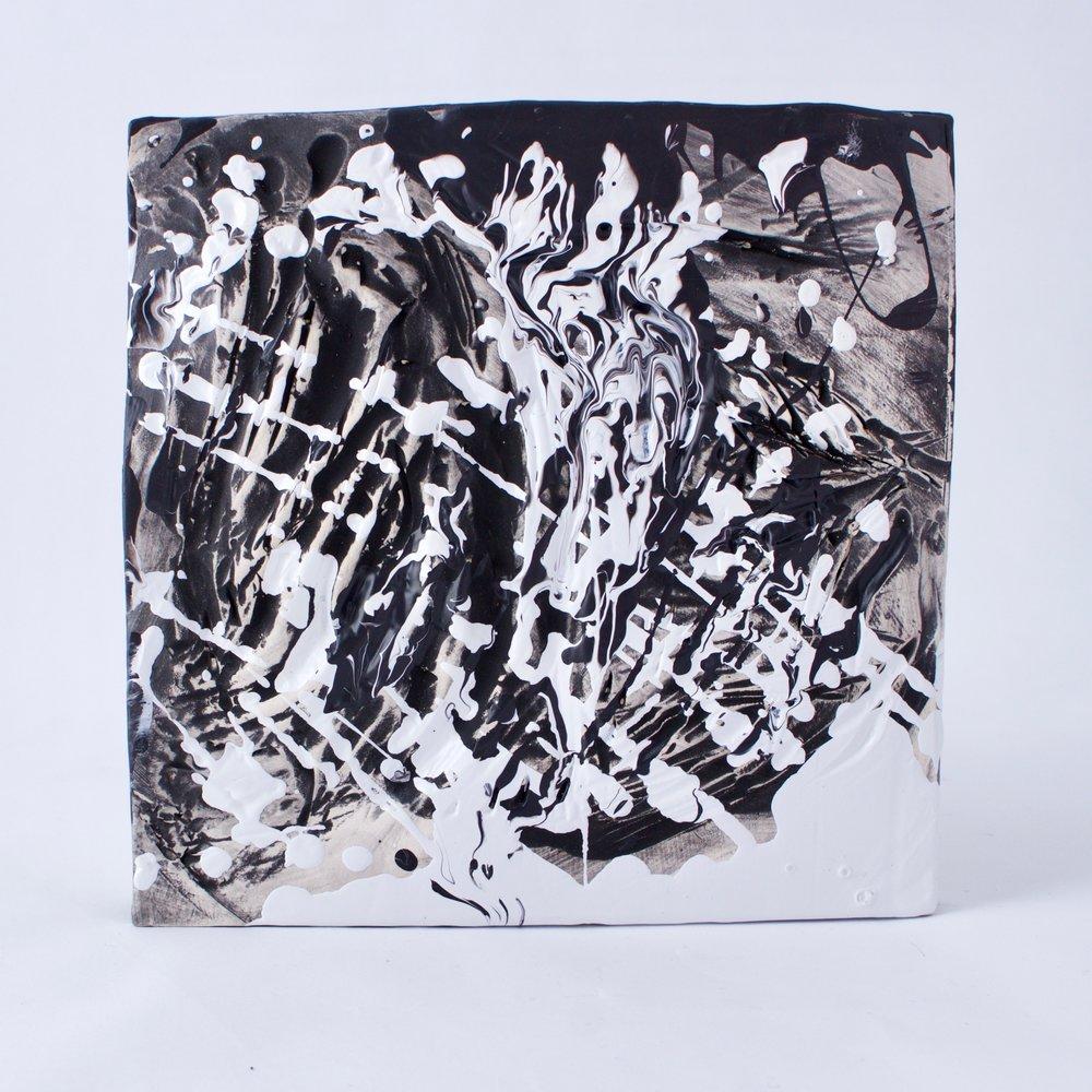 Complementary 8  ,  Stoneware, underglaze, mix medium, 6.25 x 6.5 x 1.5  inches, 2016