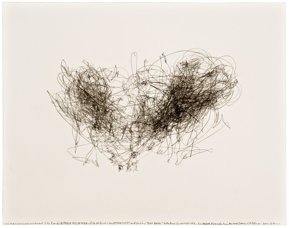 Morgan O'Hara,  LIVE TRANSMISSION: movement of the hands of PABLO HELGUERA while performing The Estheticist and singing Art Basel to the tune of Moonriver / Elizabeth Foundation for the Arts Project Space / 17 February 2011,  11 x 14 in., Graphite on paper, 2011