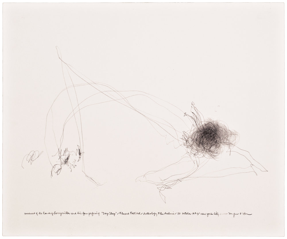 Morgan O'Hara,  LIVE TRANSMISSION: movement of the hands of LARRY MILLER and his fan performing Deep Sleep / Fluxus Festival / Anthology Film Archives / 30 October 1994 / New York City, 14 x 17 in., Graphite on paper ©2017 Morgan O'Hara, Courtesy Fou Gallery