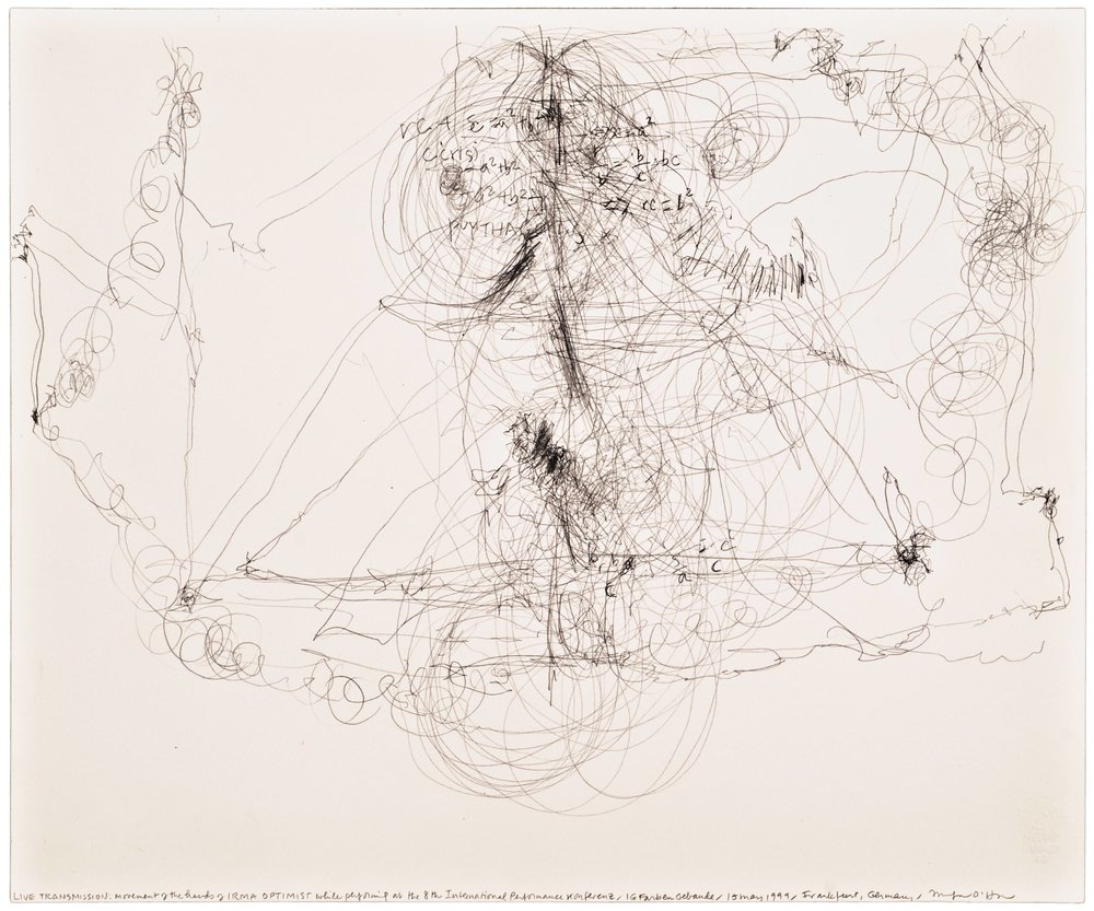 Morgan O'Hara,  LIVE TRANSMISSION: movement of hands of IRMA OPTIMIST while performing at the InternationalPerformance Conference /IG Farben Gebaude/ 13 May 1999/ Frankfurt, Germany,  14 x 17 in., Graphite on Bristol paper, 1999