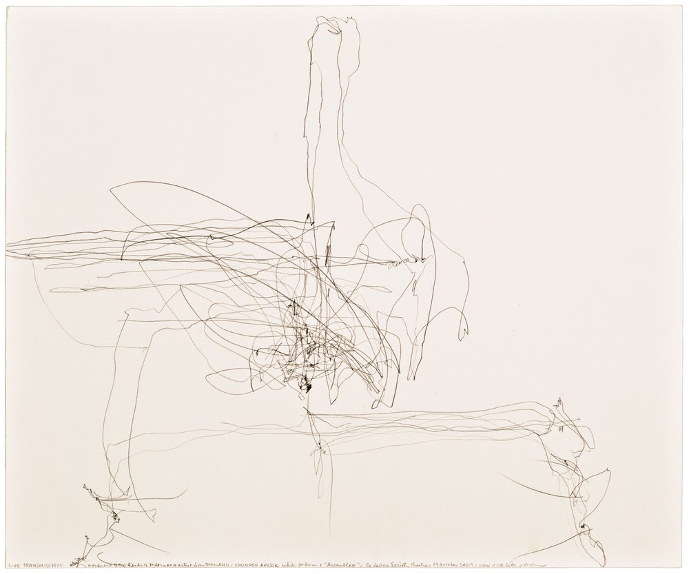 Morgan O'Hara,  LIVE TRANSMISSION: movement of the hands of peformance artist from Thailand CHUMPON APISUK / while performing Assemblage/ The Japan Society Theatre / 19 October 2001/ New York City,  14 x 17 in., Graphite on Bristol paper, 2001